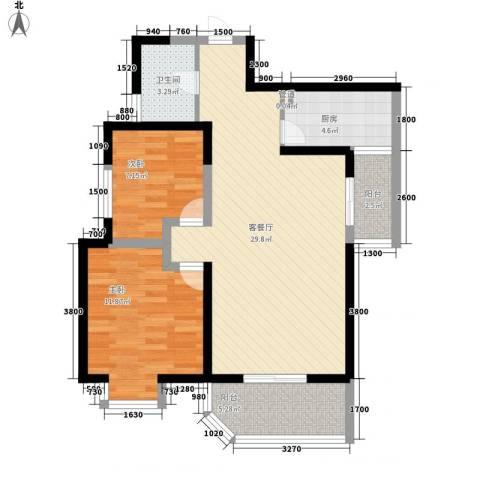 华清学府城2室1厅1卫1厨89.00㎡户型图