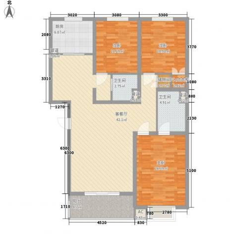 人民路邮电西小区3室1厅2卫1厨146.00㎡户型图