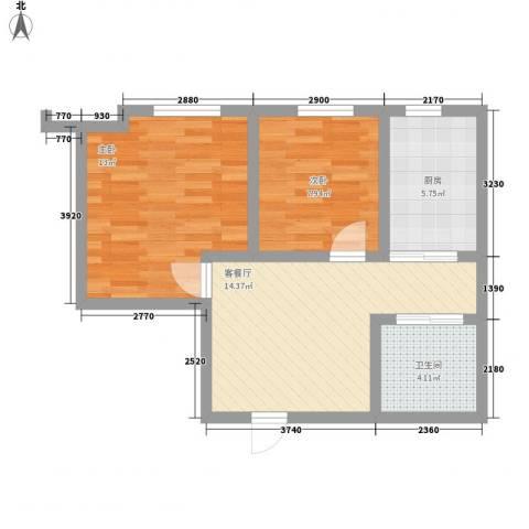 亿丰・南奥国际2室1厅1卫1厨67.00㎡户型图