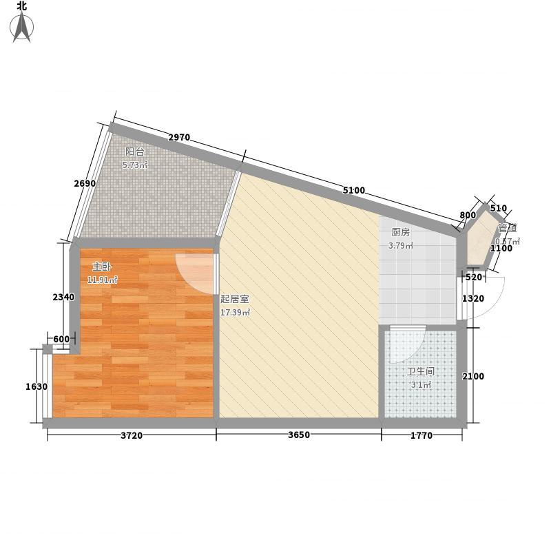 东方豪苑5826.00㎡五期17幢9-16层D11户型1室2厅1卫1厨