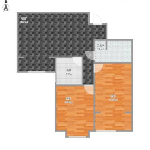 罗马西西里2室1厅1卫1厨96.00㎡户型图