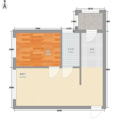 睿城臻品1室1厅1卫0厨35.93㎡户型图
