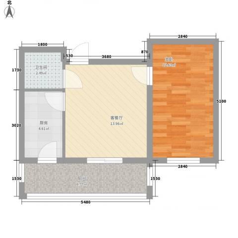 睿城臻品1室1厅1卫1厨40.46㎡户型图