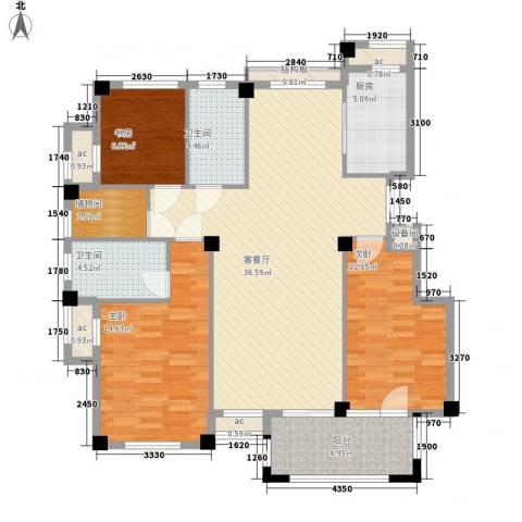 冠城晶典3室1厅2卫1厨140.00㎡户型图