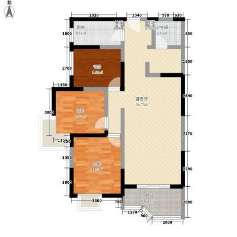 华清学府城3室1厅1卫1厨107.00㎡户型图
