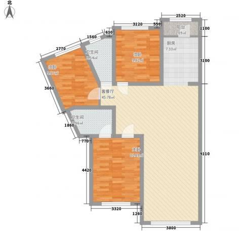 美地庄园3室1厅2卫0厨124.00㎡户型图