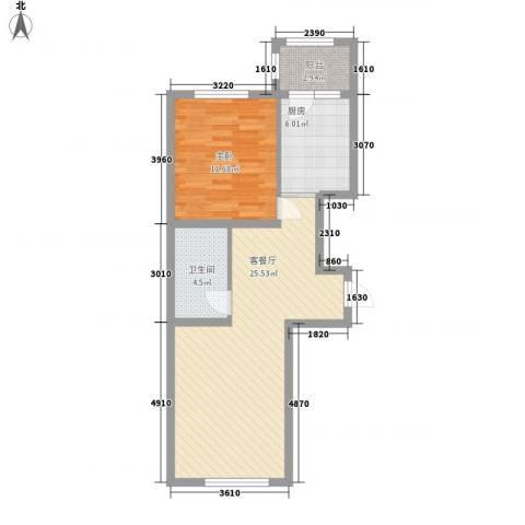 睿城臻品1室1厅1卫1厨50.65㎡户型图