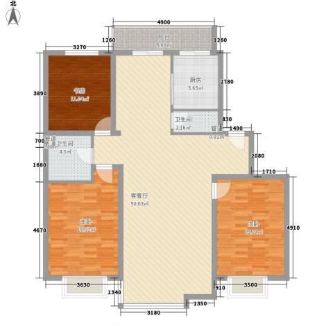 风华时代3室1厅2卫1厨143.00㎡户型图