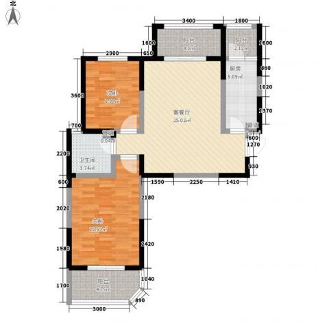华清学府城2室1厅1卫1厨90.00㎡户型图