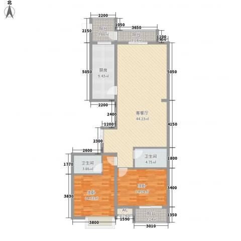 恒实城市广场・新城市花园2室1厅2卫1厨145.00㎡户型图