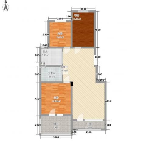 昂展公园里3室1厅1卫1厨111.00㎡户型图