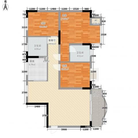 大朗中心花园三期3室1厅2卫1厨123.00㎡户型图
