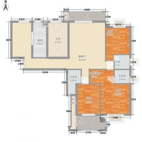 紫荆花园3室1厅3卫1厨143.00㎡户型图