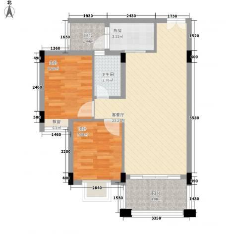 蜜糖苑2室1厅1卫1厨75.00㎡户型图