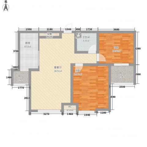 环球贸易中心2室1厅1卫1厨103.00㎡户型图