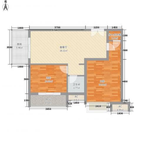 恒实城市广场・新城市花园2室1厅1卫1厨68.69㎡户型图