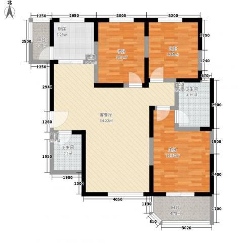 华清学府城3室1厅2卫1厨122.00㎡户型图