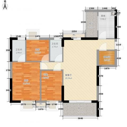 天伦东时区3室1厅2卫1厨102.00㎡户型图
