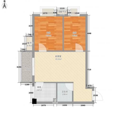 柒星景2室0厅1卫1厨67.00㎡户型图
