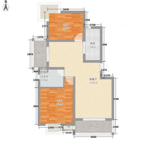 金祁新城2室1厅1卫1厨95.00㎡户型图