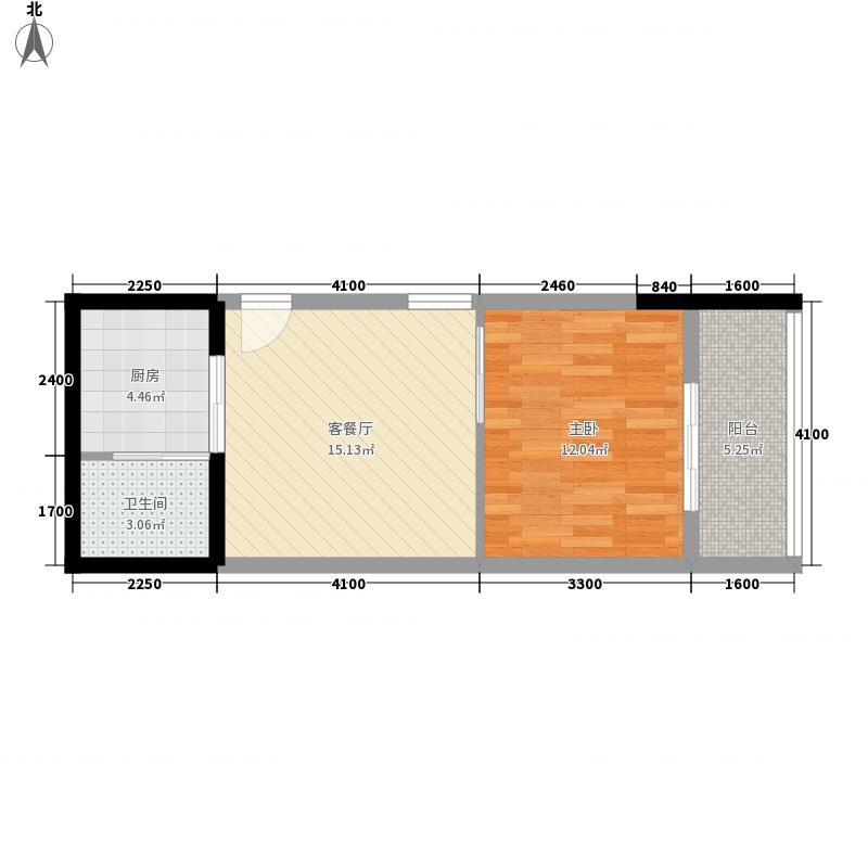 东海湾太古广场62.00㎡二期5#楼F2户型1室1厅1卫1厨