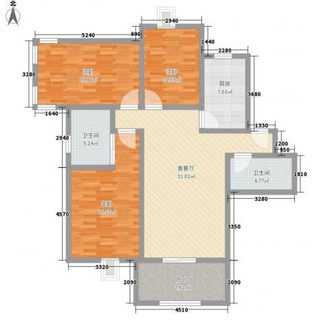 淮海新公馆3室1厅2卫1厨141.00㎡户型图
