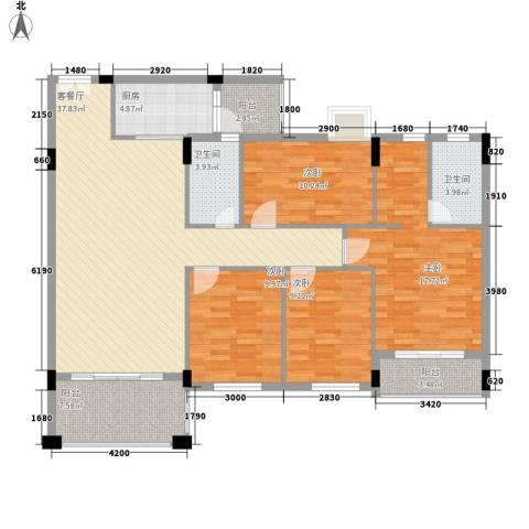 蜜糖苑4室1厅2卫1厨156.00㎡户型图