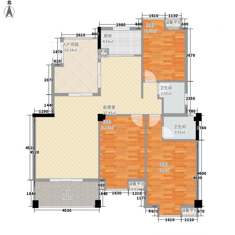 东方豪苑131.30㎡四期锦江2#B户型3室2厅2卫1厨