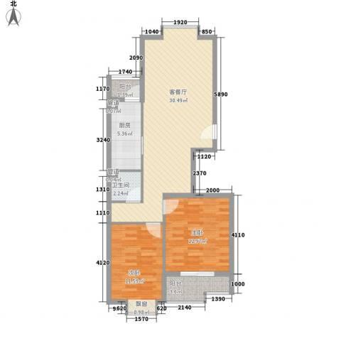 名邦锦绣年华2室1厅1卫1厨82.00㎡户型图