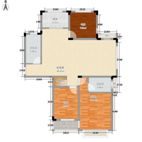 山水华庭东苑3室0厅2卫1厨126.00㎡户型图