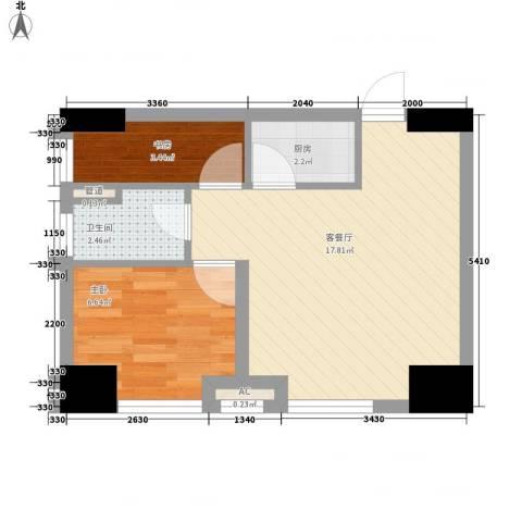 环球贸易中心2室1厅1卫1厨50.00㎡户型图