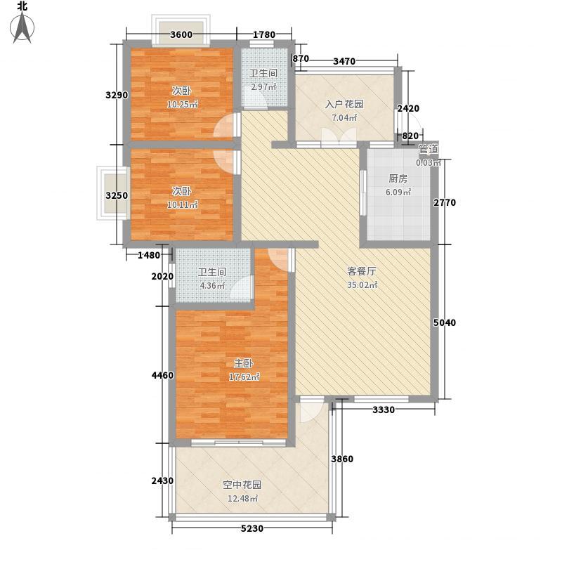 西岸第一城D型标准偶数层户型3室2厅2卫1厨