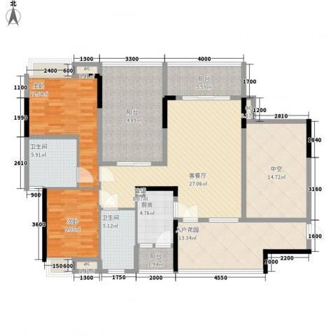 大朗中心花园三期2室1厅2卫1厨125.00㎡户型图
