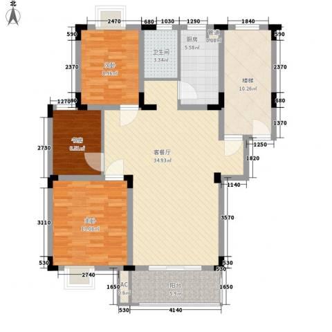 名邦锦绣年华3室1厅1卫1厨127.00㎡户型图