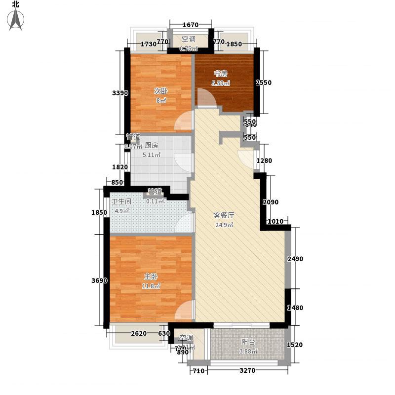 万科尚源户型图95平边户标准层户型图 3室2厅1卫1厨