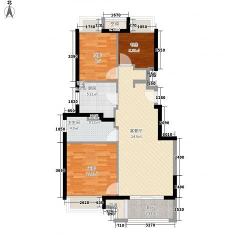 万科尚源3室1厅1卫1厨95.00㎡户型图
