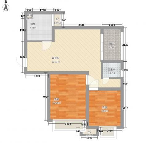 绿地香树花城2室1厅1卫1厨76.00㎡户型图