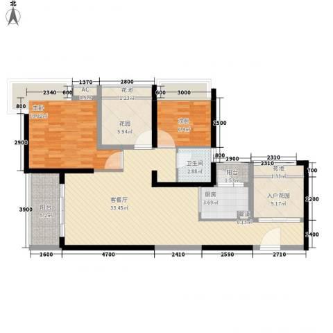 金沙世纪城2室1厅1卫1厨118.00㎡户型图