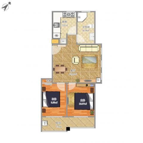 中德亚运村北区2室1厅1卫1厨90.00㎡户型图