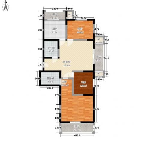 心源家园3室1厅2卫1厨99.18㎡户型图