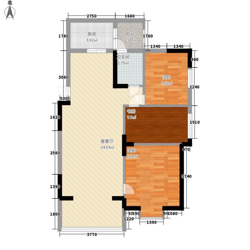 世贸西城D座户型3室2厅1卫1厨