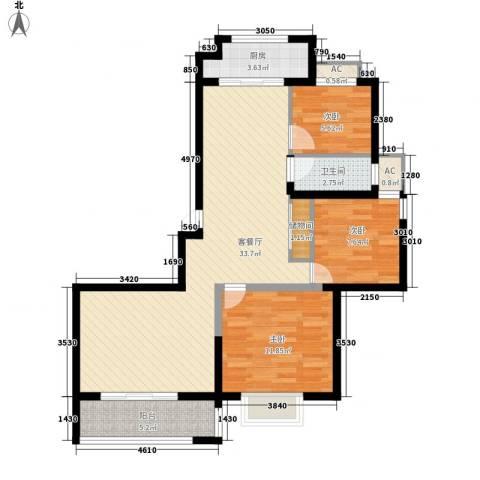 博奥东苑3室1厅1卫1厨72.92㎡户型图