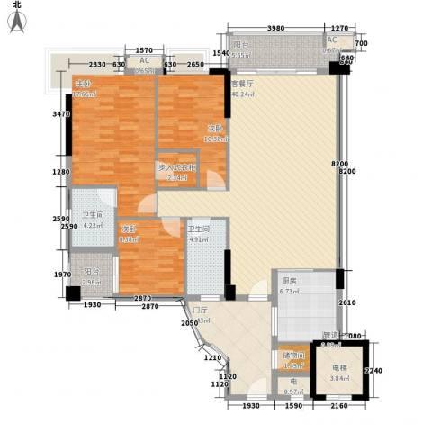 石竹山水园四期3室1厅2卫1厨139.00㎡户型图