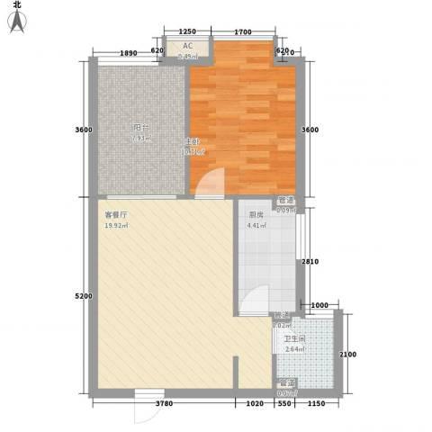 东泰城市之光1室1厅1卫1厨54.00㎡户型图