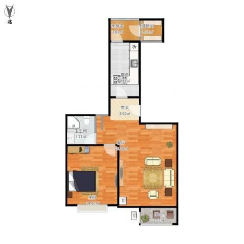 大城小镇1室1厅1卫1厨83.00㎡户型图