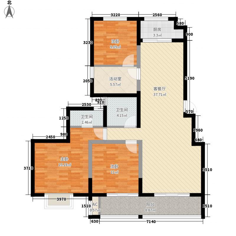 博奥东苑141.60㎡一期2号、3号楼标准层C-2户型4室2厅2卫1厨