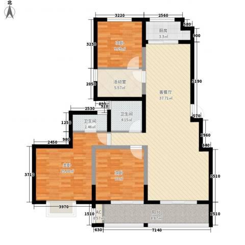 博奥东苑3室1厅2卫1厨142.00㎡户型图