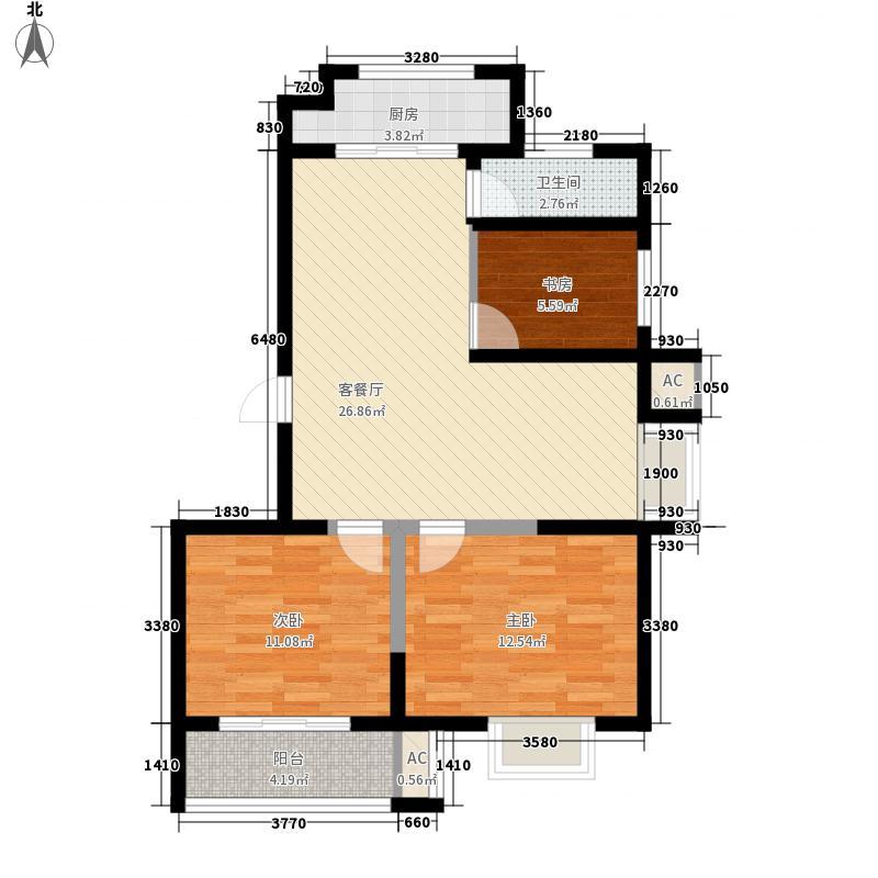 博奥东苑8.00㎡一期2号、3号楼标准层C-1户型3室2厅1卫1厨