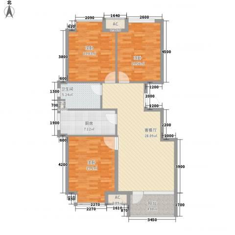 荣盛・幸福大道3室1厅1卫1厨105.00㎡户型图