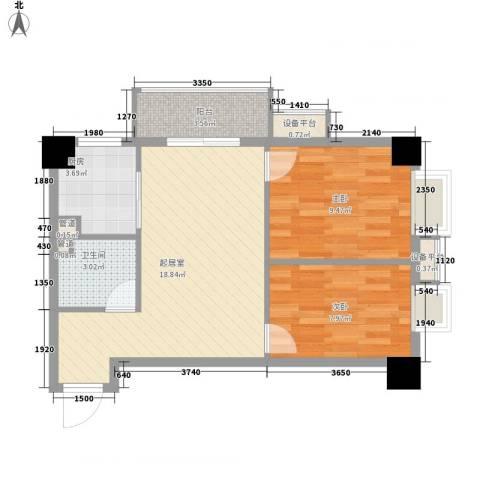 柒星景2室0厅1卫1厨68.00㎡户型图